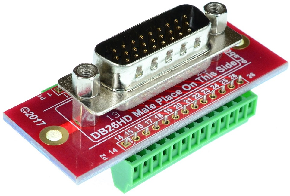 D-Sub High Density 26 DB26HD Male Connector Breakout Board
