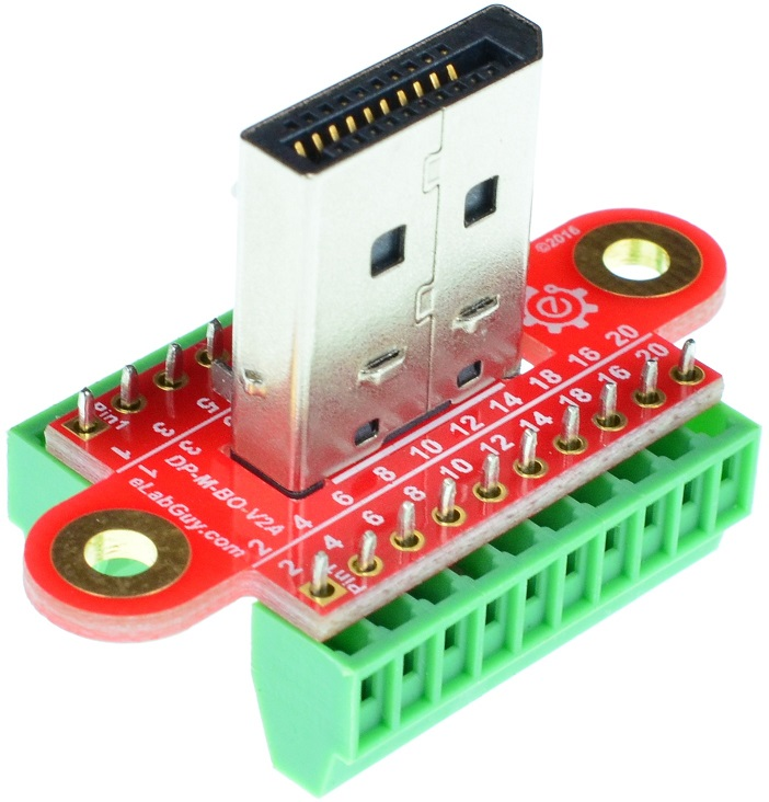 Displayport Male connector Breakout Board vertical