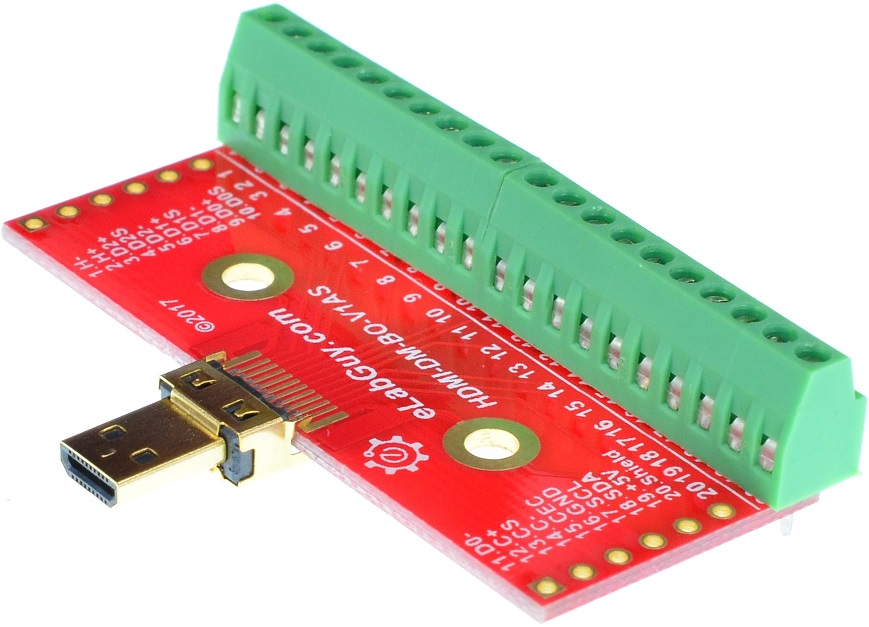 Micro HDMI Type D Male connector Breakout Board